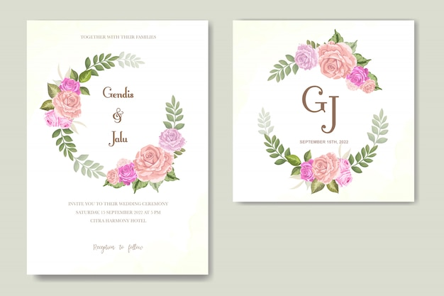 Invito a nozze disegno floreale