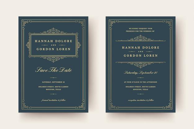 Invito a nozze e salvare le carte data fiorisce ornamenti turbinii vignetta.