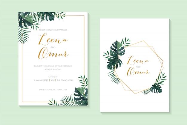 Invito a nozze elegante con foglie di monstera