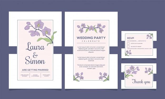 Invito a nozze elegante disegno di fiori di orchidea