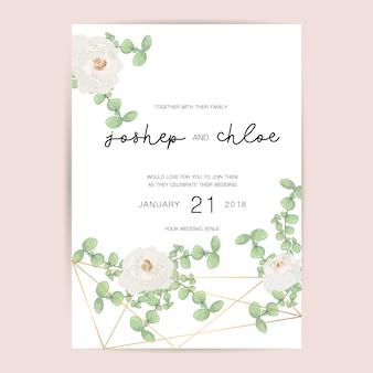 Invito a nozze fiore e cornice dorata geometrica