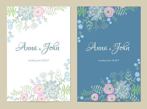 Invito a nozze fiori delicati. salva la data di auguri design floreale. modello di ricamo vintage succulente rosa ranuncolo