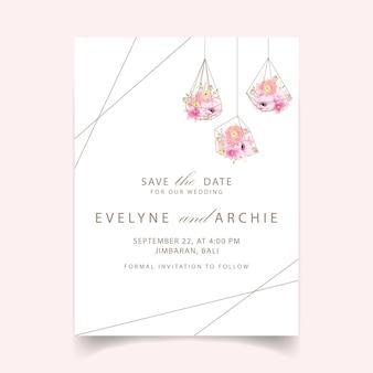 Invito a nozze fiori di ranuncolo magnolia anemone