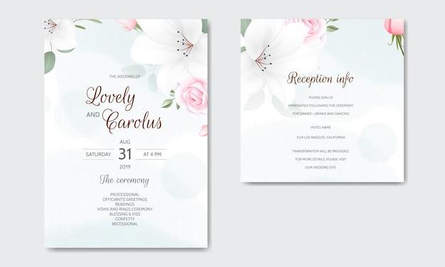 Invito a nozze floreale bella con rose e foglie verdi in fiore