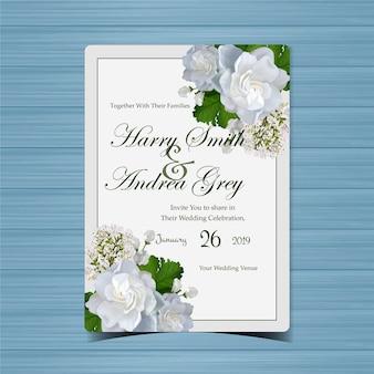 Invito a nozze floreale con bellissimi fiori bianchi