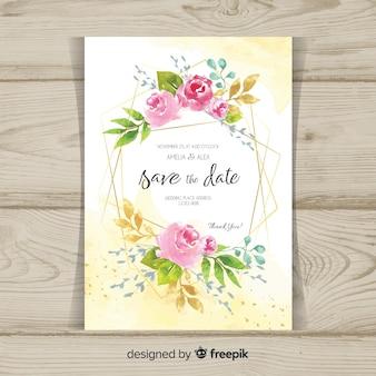 Invito a nozze floreale con cornice dorata