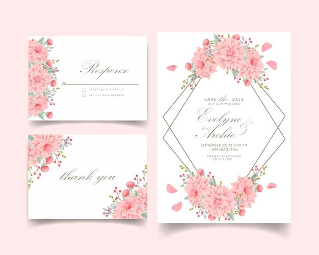 Invito a nozze floreale con fiore di dahlia