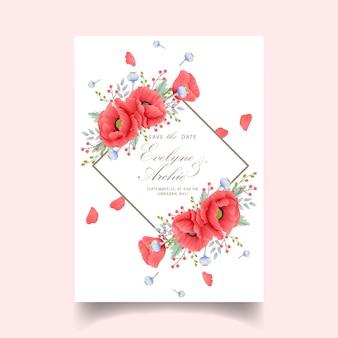Invito a nozze floreale con fiore di papavero