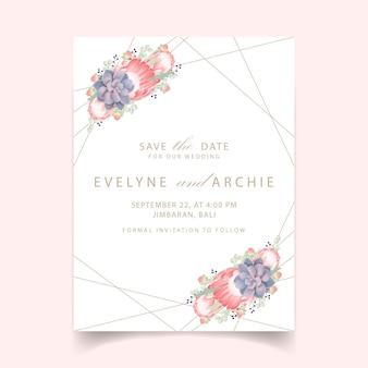 Invito a nozze floreale con fiore di protea e succulente