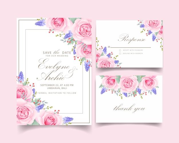 Invito a nozze floreale con fiore rosa rosa e muscari