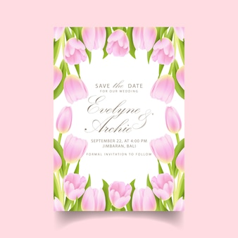 Invito a nozze floreale con fiore tulipano rosa