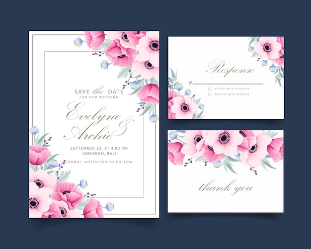 Invito a nozze floreale con fiori di anemone e papavero