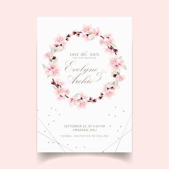 Invito a nozze floreale con fiori di ciliegio