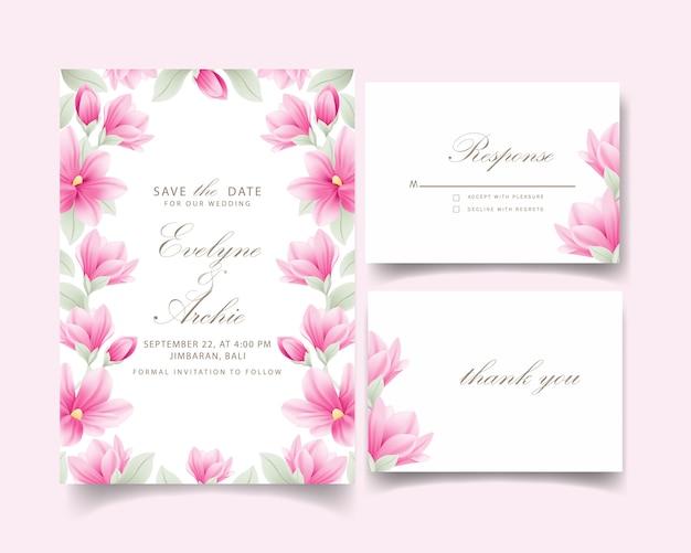 Invito a nozze floreale con fiori di magnolia