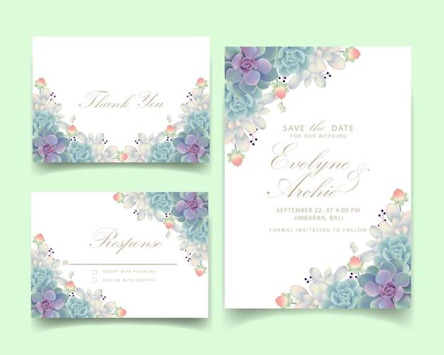 Invito a nozze floreale con piante grasse