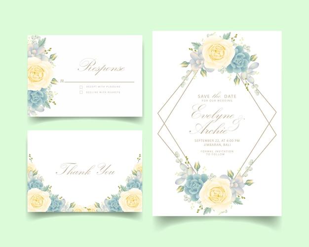 Invito a nozze floreale con rosa bianca e succulenta