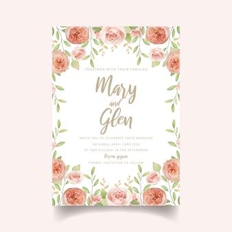 Invito a nozze floreale con rose da giardino floreale