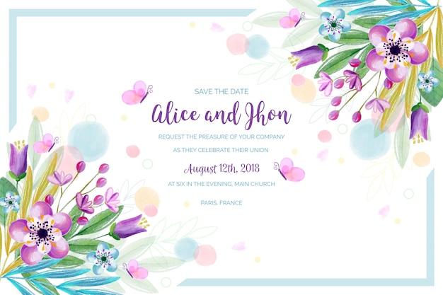 Invito a nozze floreale dell'acquerello