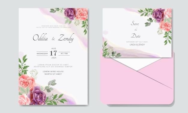 Invito a nozze floreale di lusso e bellezza