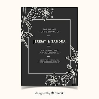 Invito a nozze floreale disegnato a mano