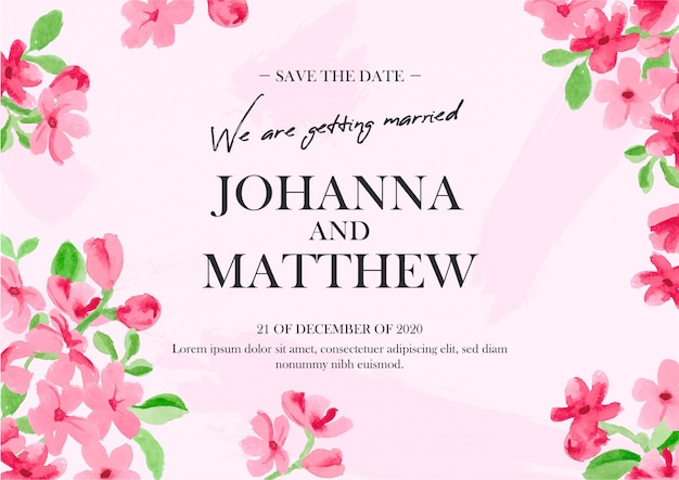 Invito a nozze floreale in acquerello