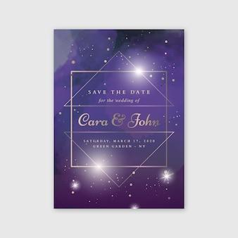 Invito a nozze galassia dell'acquerello