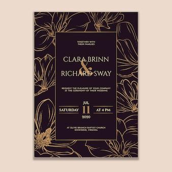 Invito a nozze golden magnolia
