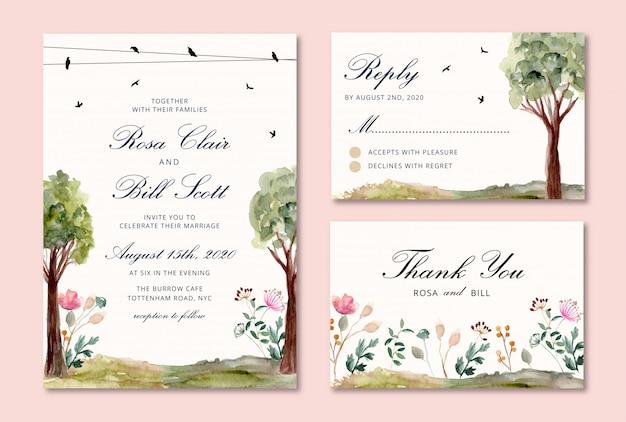 Invito a nozze impostato con acquerello di uccelli e alberi