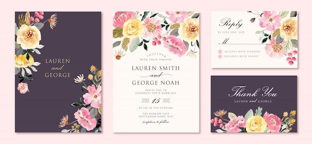 Invito a nozze impostato con acquerello giardino floreale rosa giallo