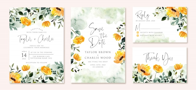 Invito a nozze impostato con acquerello verde giallo giardino floreale