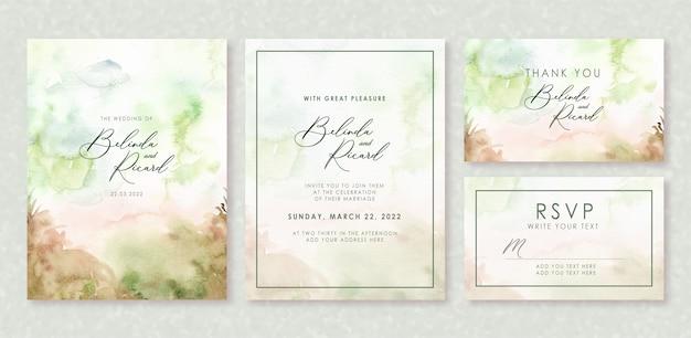 Invito a nozze impostato con l'acquerello di concetto di foresta