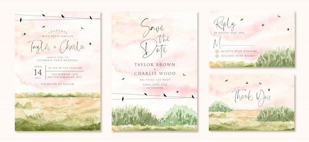 Invito a nozze impostato con paesaggio verde campo acquerello