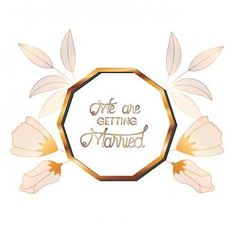 Invito a nozze in cornice dorata con fiori