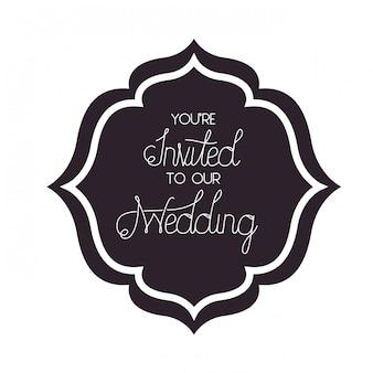Invito a nozze in icona cornice isolata