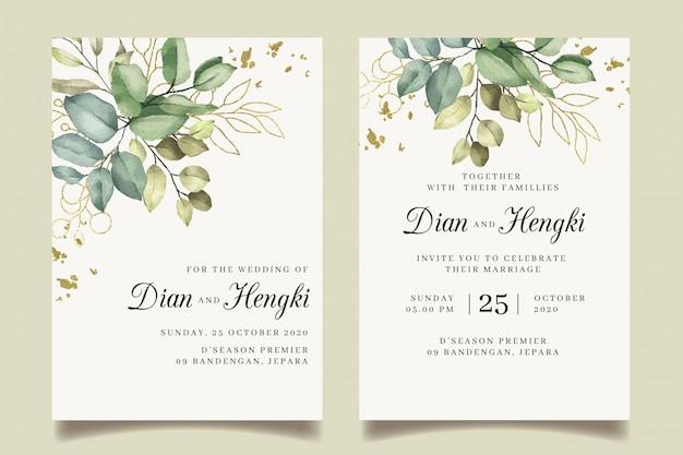 Invito a nozze in oro con eleganti foglie e schizzi d'oro