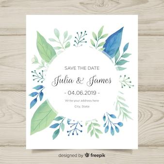 Invito a nozze incantevole con foglie di acquerello