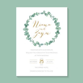 Invito a nozze minimalista con ghirlanda di ghirlande di eucalipti ad acquerello,