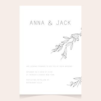Invito a nozze minimalista semplice