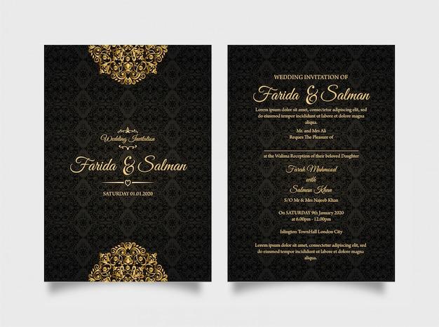 Invito a nozze nero elegante
