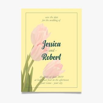 Invito a nozze pulito con lowpoly di tulipani