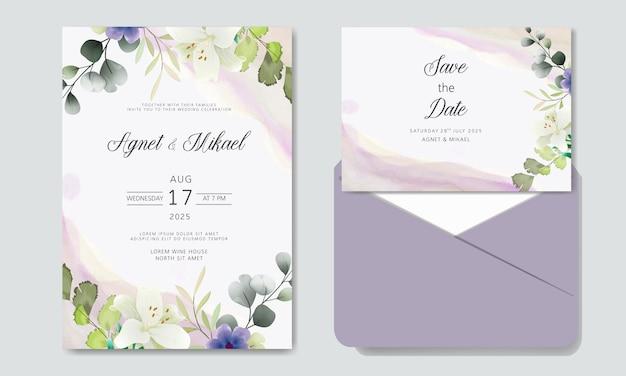Invito a nozze romantico con bellissimi fiori