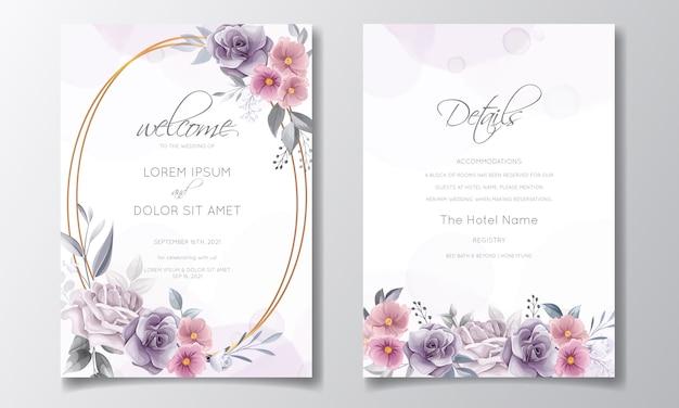 Invito a nozze romantico con bellissimo fiore rosa e cosmo acquerello