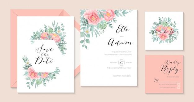 Invito a nozze romantico peonia dell'acquerello con carciofo ed eucalipto, modello stazionario di nozze