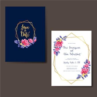 Invito a nozze rosa cornice blu acquerello oro rosa