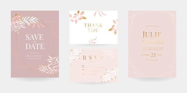 Invito a nozze, rsvp card, modello di scheda grazie