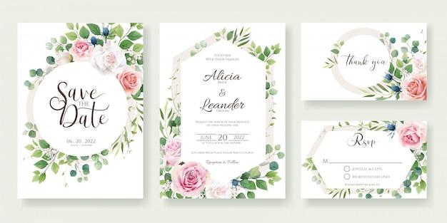 Invito a nozze, salva la data, grazie, modello di carta rsvp. fiore di rose con verde.