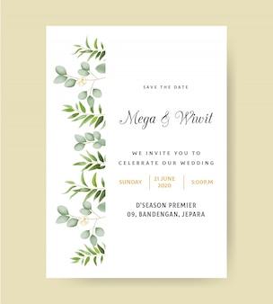 Invito a nozze semplice con eucalipto
