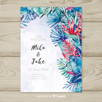 Invito a nozze tropicale dell'acquerello