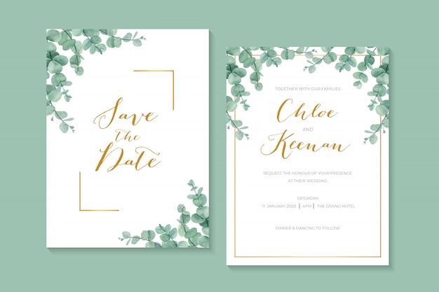 Invito a nozze verde classico e semplice con foglie di eucalipto e bordo cornice dorata.