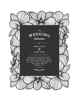 Invito a nozze vettore taglio laser con fiori di orchidea per pannello decorativo.